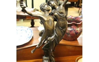 Cast Metal Bronze Figure of a Young Couple Dancing (Height 2...