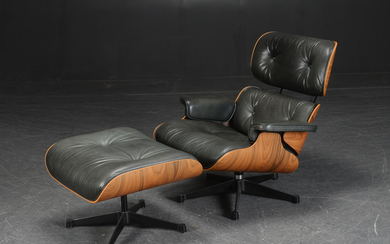 Charles and Ray Eames. 'Lounge Chair' with footstool, Anniversary Model, No. 062 (2 + 1)