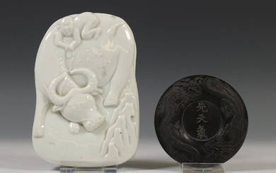 China, inkwell and blanc-de-Chine inkwell, the stone in...