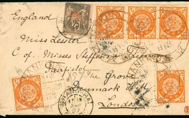 China Postal History Imperial Post 1897 (18 Dec.) a combination cover to England bearing ICP co...