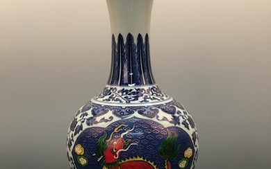 Chinese Blue-White Porcelain Vase with YongZheng Mark