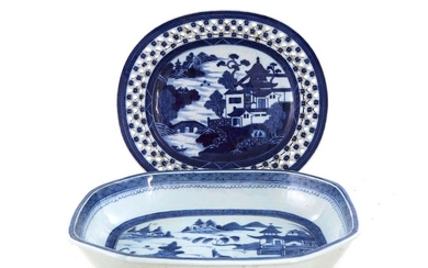 Chinese Export blue-and-white porcelain dish and platter (2pcs)