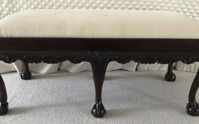 Chippendale Style Ball / Claw Upholstered Bench