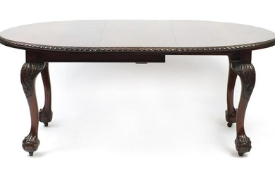 Chippendale style mahogany D end wind out dining table
