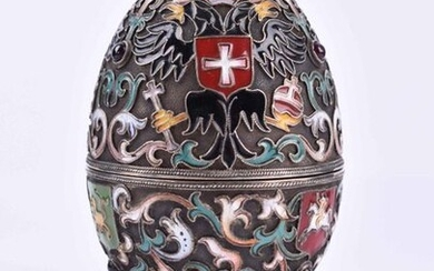 Cloisonne egg Russia | Cloisonne egg Russia,Silver 84 Zolotnik, gilt inside, cyrillic master mark, rising from 3 feet, set with ruby cabochons, h: 9,7 cm_x000D_