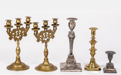 Collection of Brass and Silver Plated Candlesticks