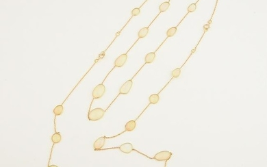 Collection of Two Opal, 18k Yellow Gold Necklaces.