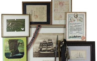 Collection of naval history from the possession of the author and world traveller Jochen Brennecke (1913-1997): Navy dagger in hammered brass sheath with portepée, German Reich 1933-45, handle and pommel missing, quillon with portepee available, also...