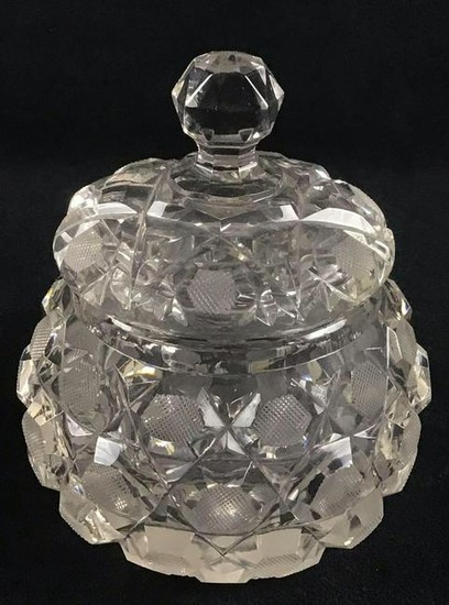 Cut Glass Round Candy Jar