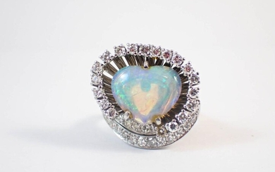 DIAMONDS, HEART OPAL AND PLATINUM RING WITH APPRAI