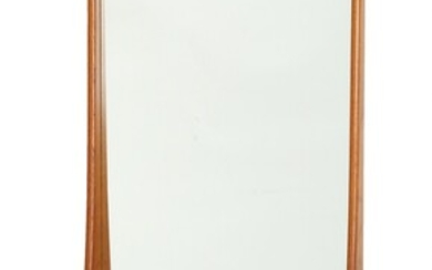 Danish furniture design: A wall mounted teak mirror, front with shelf. 1960s. H. 112. W....