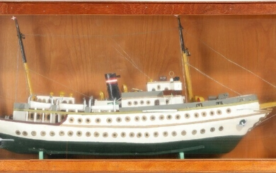 """""""Dannebrog"""". A paint wood ship model. A glass and wood display case enclosed. Case H. 41. W. 93. D. 20 cm."""
