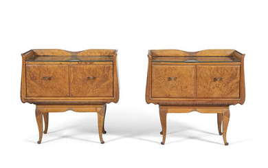 Description LOCKERS A PAIR OF WALNUT BEDSIDE LOCKERS, with...