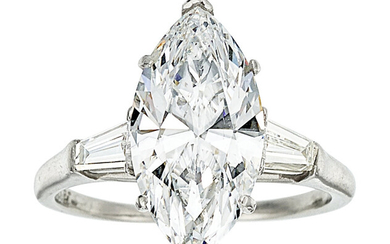 Diamond, Platinum Ring The ring features a marquise-shaped diamond...