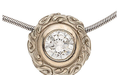 Diamond, White Gold Pendant-Necklace The pendant features a round...