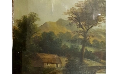 E Chester, English, rural landscape with thatched cottage be...