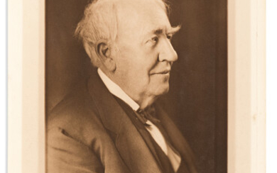 EDISON THOMAS A Large Photograph Signed and Inscribed to cin