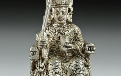 Early 20th C. Chinese Silvered Brass Seated King Amulet