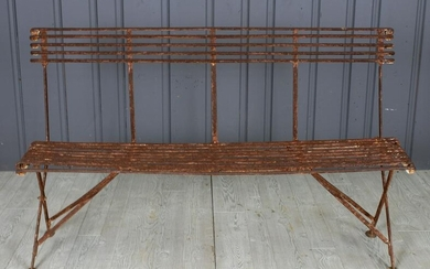 Early 20th C. French Wrought Iron Garden Bench