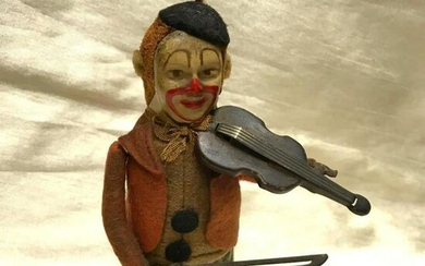Early 20th Century Schuco Wind Up Clown & Violin