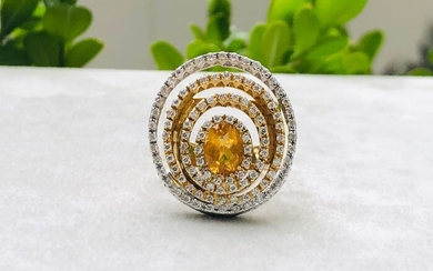 Elle gioielli- 18 kt. White gold, Yellow gold - Ring - 0.85 ct Diamond - Citrine