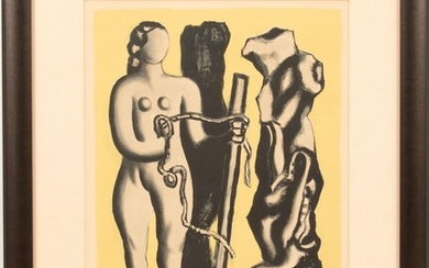 """FERNAND LEGER (FRENCH, 1881-55), LITHOGRAPH IN COLORS ON ARCHES PAPER, 1952, H 16.25"""", W 13"""", FEMME SUR FOND JAUNE"""