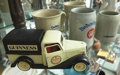 FOUR VINTAGE STONEWARE ADVERTISING BEER MUGS, INCLUDING TWO WEST GERMAN FOR LUFTHANSA AND BODENSTEINER, AND TWO FOR CARLTON (ONE A/F...