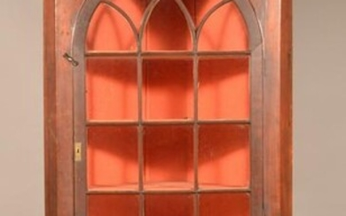 Federal Cherry Arched Door Two-Part Corner Cupboard.