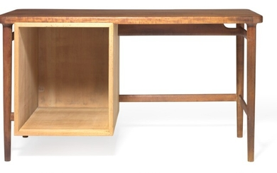 Finn Juhl: Rare lady's desk of teak. Left side mounted with storage space of Oregon pine.