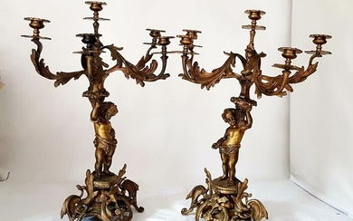 Five-candle candelabra with putti - Rococo Style - Bronze (gilt) - Late 19th century