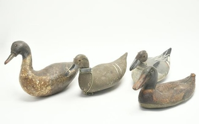 Four Painted Wood Canvas Back Duck Decoys.