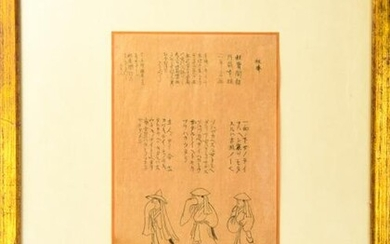 Framed Chinese Paper w Calligraphy & Drawings