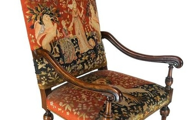 French Classical Needlepoint Throne Chair