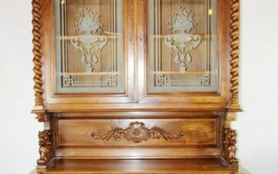 French carved walnut buffet with etched glass doors