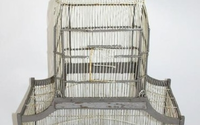 French rustic wooden birdcage