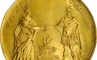GERMANY. Hesse-Cassel. Gold Medallic 6 Ducats, 1740. Frederick II with Mary. NGC MS-61.
