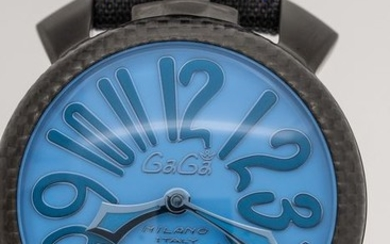 GaGà Milano - Mechanical Limited Edition Carbon Manuale 48MM BlueSwiss Made - 5021 - Unisex - BRAND NEW