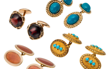 Garnet, Turquoise, Enamel, Gold Cuff Links The lot includes...