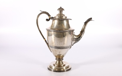George III silver hot water pot, the base foot with mark pos...