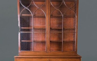 "Georgian ""Bureau bookcase"", England, 19th century. Upper part with double glazed door and split pediment, and lower part with four drawer registers. With key. Measurements: 244x55x124 cm. Exit: 400uros. (66.554 Ptas.)"