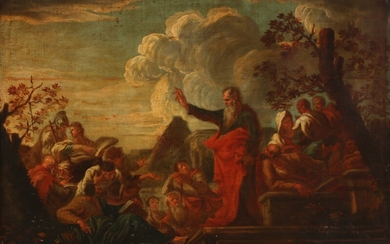 Giovanni Ghisolfi, follower of, late 17th century: The preaching of Paulus in Lystra. Unsigned. Oil on canvas. 72×108 cm.
