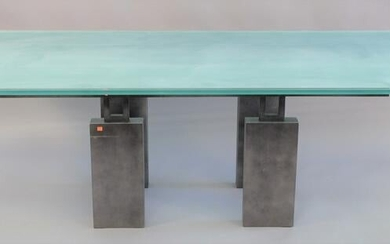 Glass top dining table with frosted center on iron