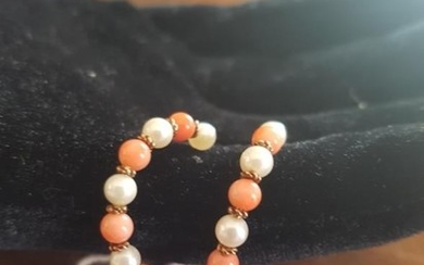 Gold Cultured Pearl Coral Earrings