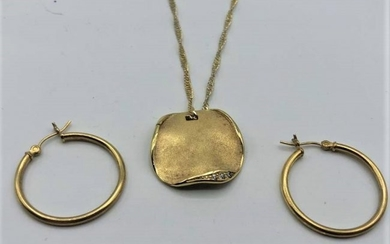 Gold Wash .925 Sterling Silver Necklace & Hoop Earrings