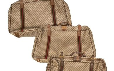 Gucci GG Canvas Logo Soft Side Luggage Bags SET 3