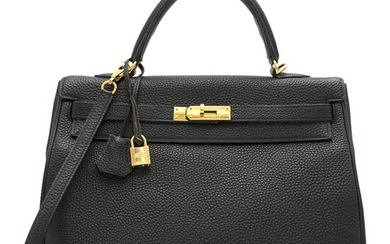 HERMÈS | BLACK KELLY RETOURNÉ 35 IN TOGO LEATHER WITH GOLD HARDWARE, 2005
