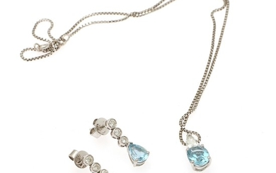 Hartmann's: An aquamarine and diamond jewellery set comprising a necklace and pair of ear pendants, mounted in 18k white gold. Certificate. Circa 2006. (3)