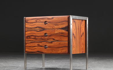 Heino Schultz. Chest of drawers, solid Santos rosewood and stainless steel