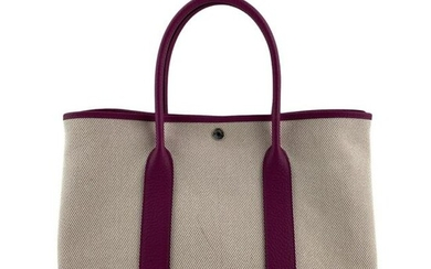 Hermes Garden Party Beige & Pink Purse Tote Bag