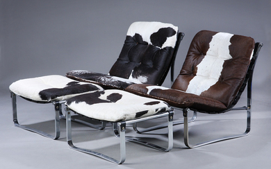 Ingmar Relling for Westnofa. A pair of lounge chairs, model 'Spring Chair' with accompanying stools. (4)